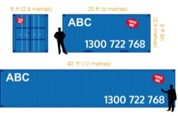 View shipping container dimensions